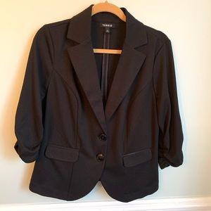 Torrid Black Ruched Sleeve Blazer Sz 0